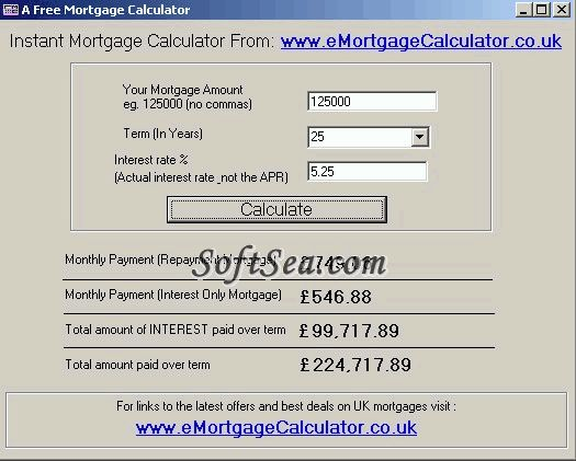 A Free Mortgage Calculator Screenshot