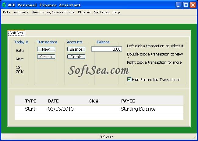 ACE Personal Finance Assistant Screenshot