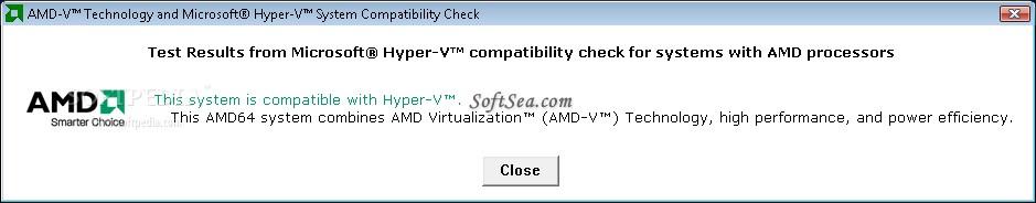 AMD Virtualization Technology and Microsoft Hyper-V System Compatibility Check Utility Screenshot