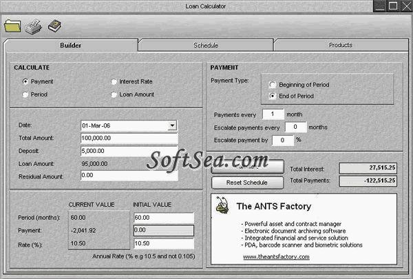 ANTS Loan Calculator Screenshot