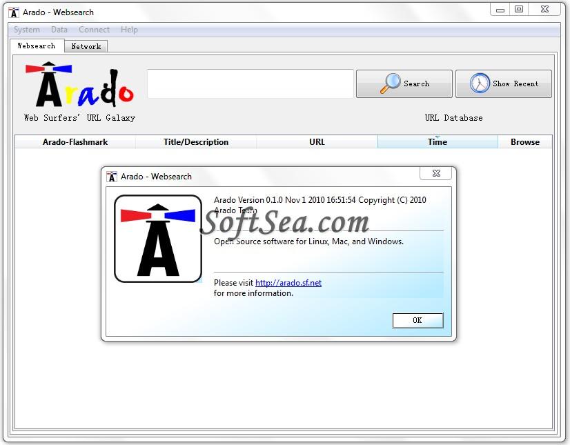 ARADO Websearch Screenshot