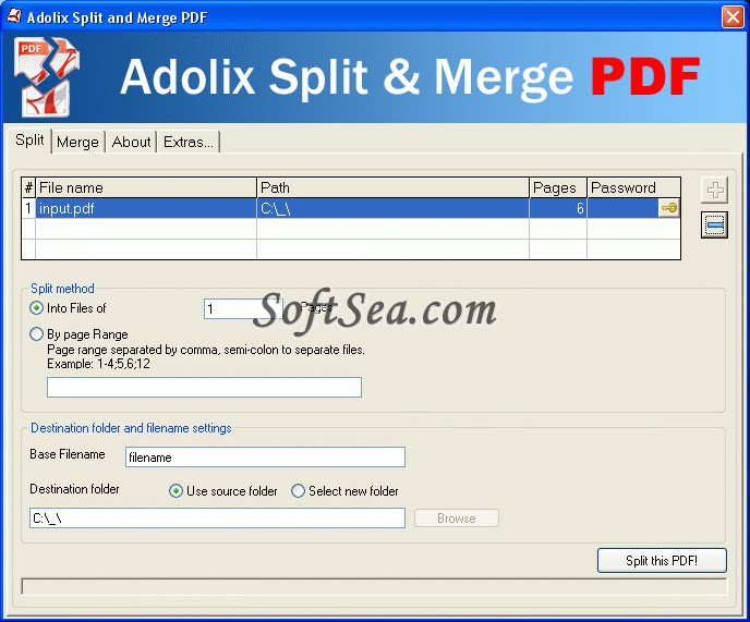 Adolix Split & Merge PDF Screenshot