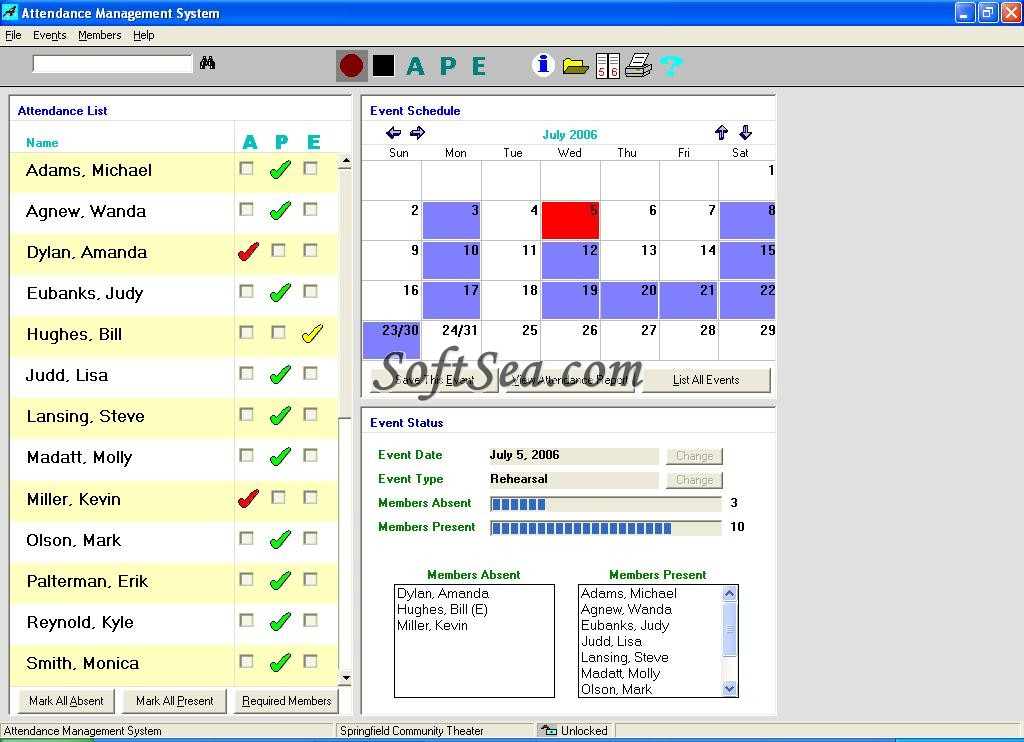 Attendance Management System Screenshot