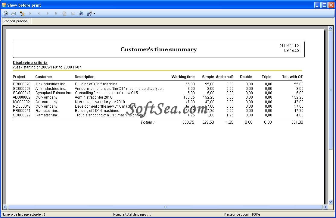 Biz Timesheet Manager Screenshot