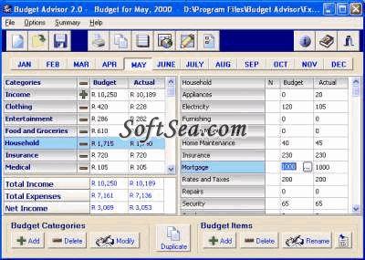 Budget Advisor Screenshot