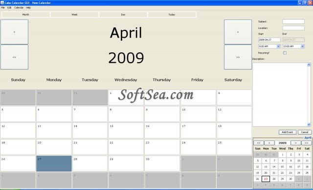 Cake Calendar Screenshot