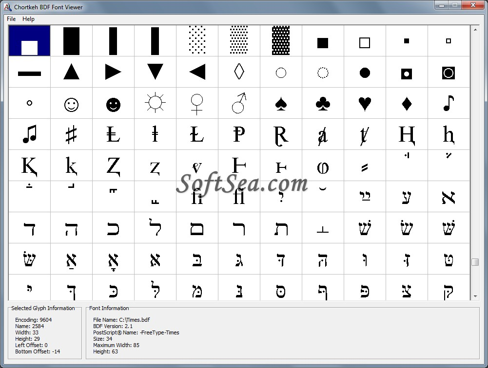 Chortkeh BDF Font Viewer Screenshot