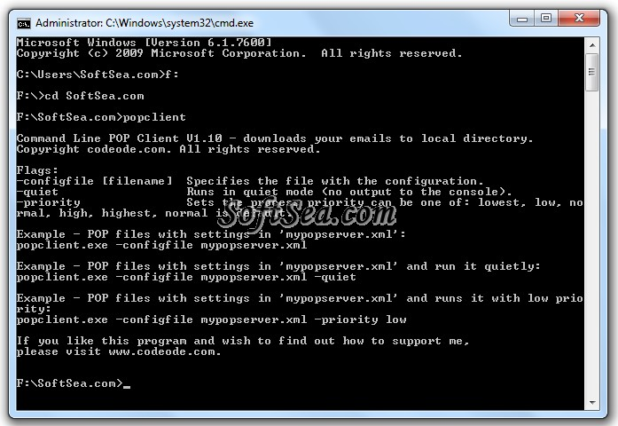 Command Line POP Client Screenshot