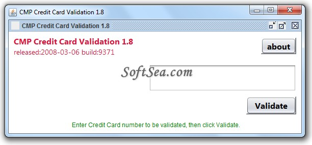 Credit Card Validator Screenshot
