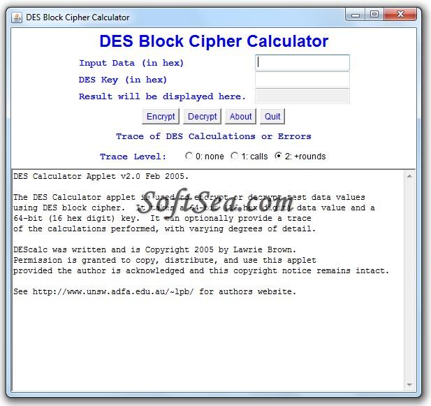 DES Calculator Screenshot