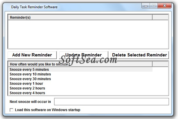Daily Task Reminder Software Screenshot