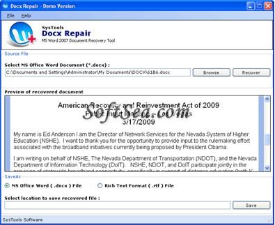 Docx Repair Screenshot