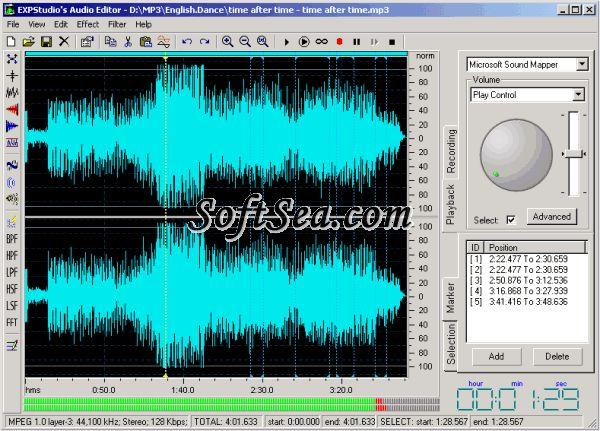 EXPStudio Audio Editor Screenshot