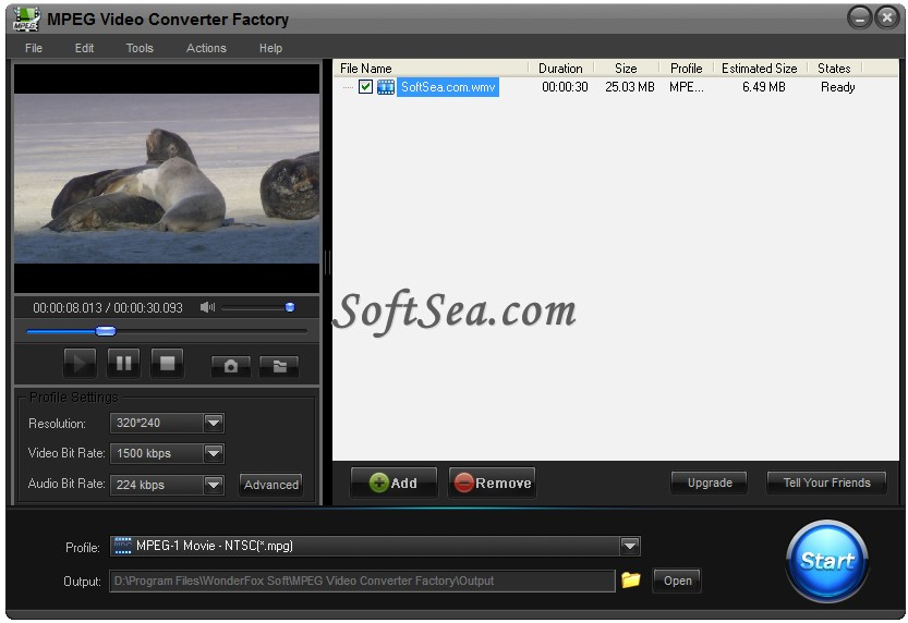 Free MPEG Video Converter Factory Screenshot