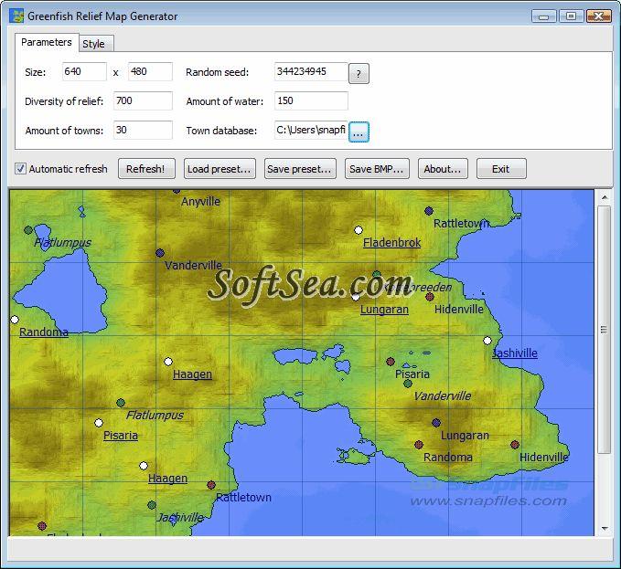 Greenfish Relief Map Generator Screenshot