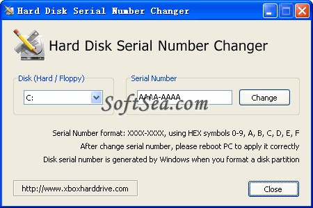 Hard Disk Serial Number Changer Screenshot