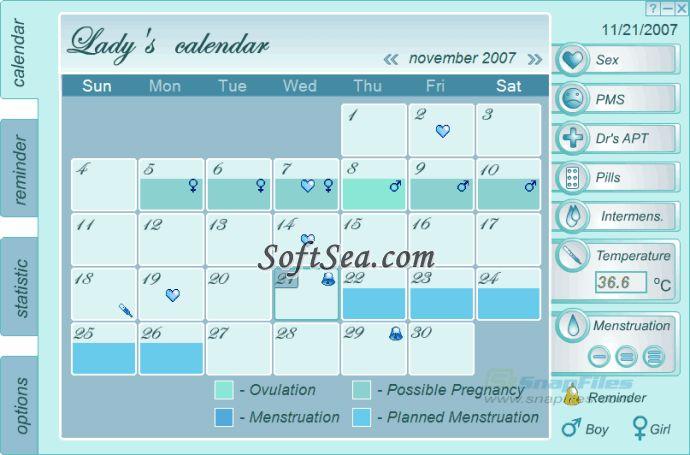Lady`s Calendar Screenshot