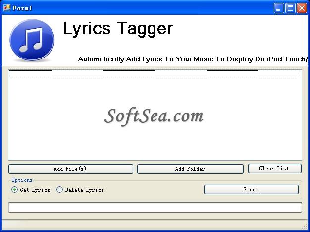 Lyrics Tagger Screenshot