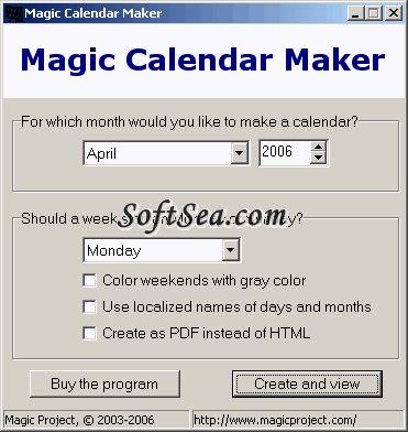Magic Calendar Maker Screenshot