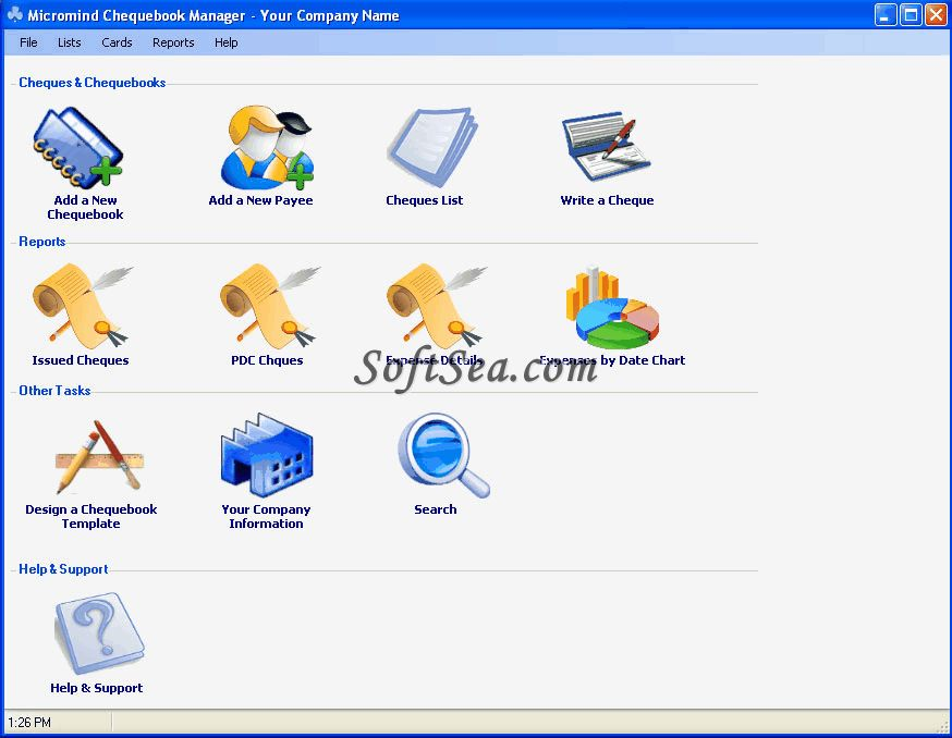 Micromind Chequebook Manager Screenshot