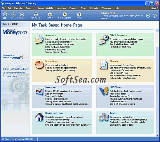 Microsoft Money Deluxe Screenshot