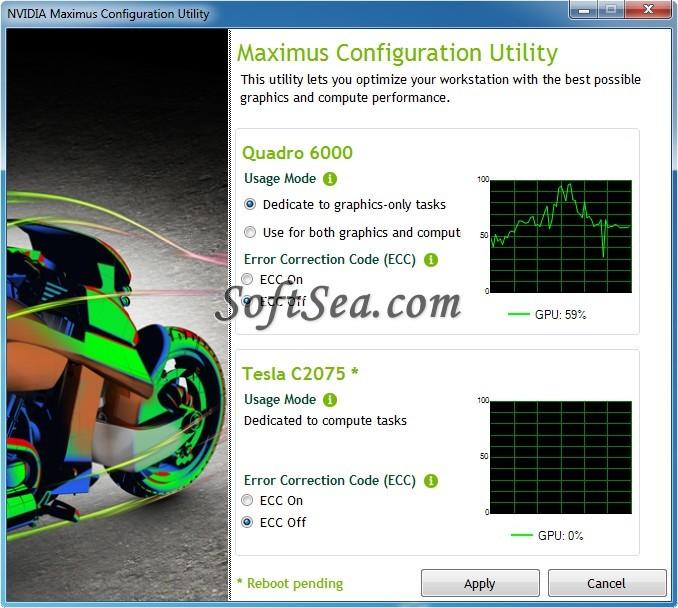 NVIDIA Maximus Configuration Utility Screenshot