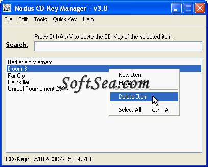 Nodus CD-Key Manager Screenshot
