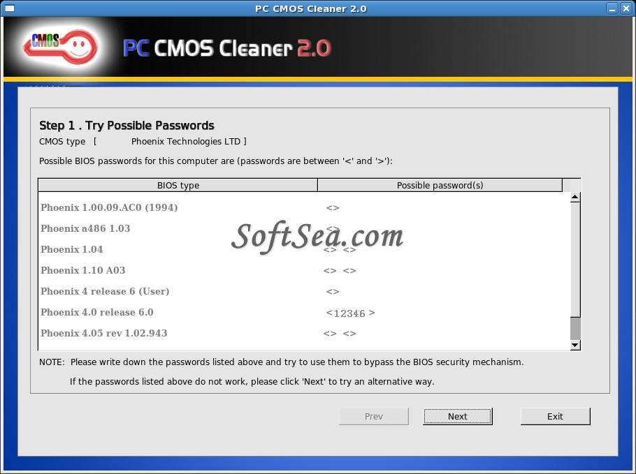 PC CMOS Cleaner Screenshot