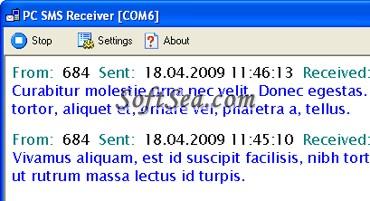 PC SMS Receiver Screenshot
