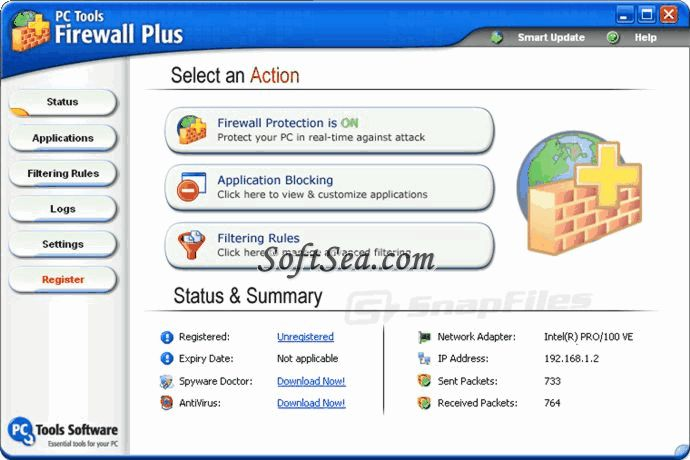 PC Tools Firewall Plus Screenshot