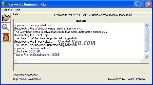 Password Eliminator .XLS Screenshot