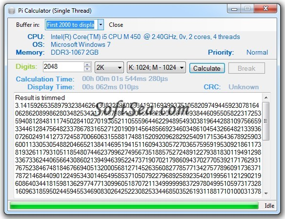 pi calculator screenshot
