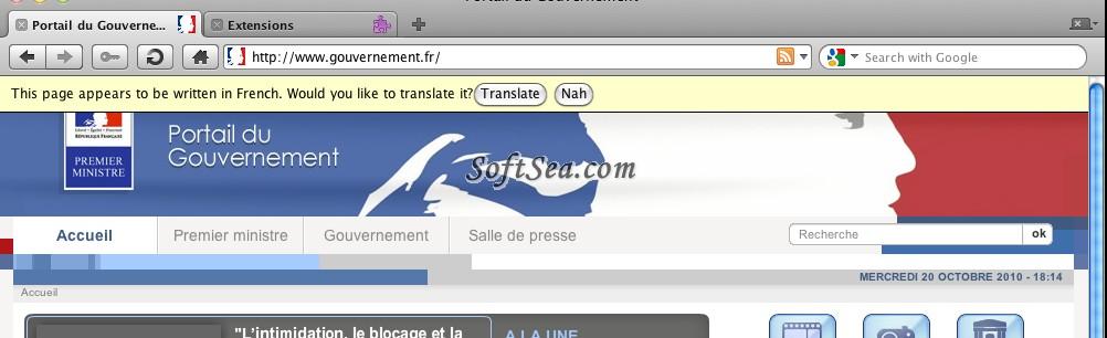 Translate Opera Extension Screenshot