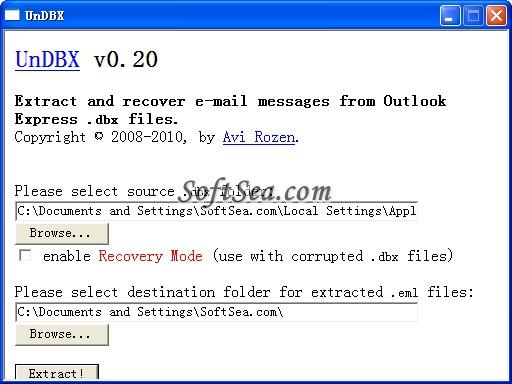 UnDBX Screenshot