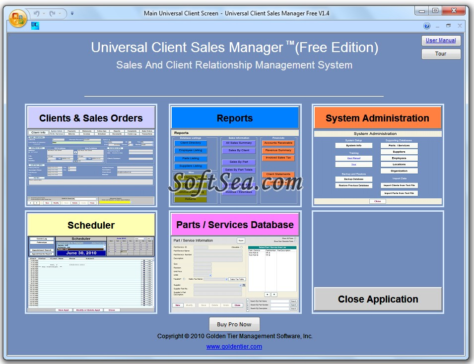 Universal Client Sales Manager Free Screenshot