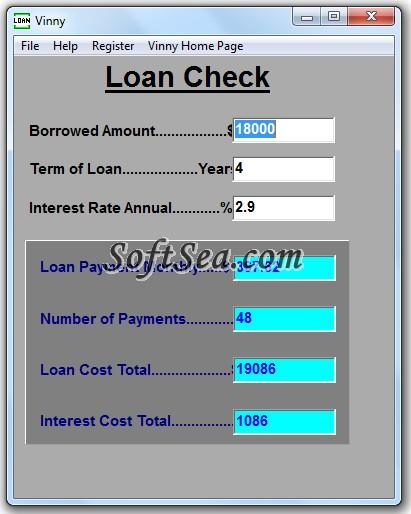 Vinny Loan Check Screenshot