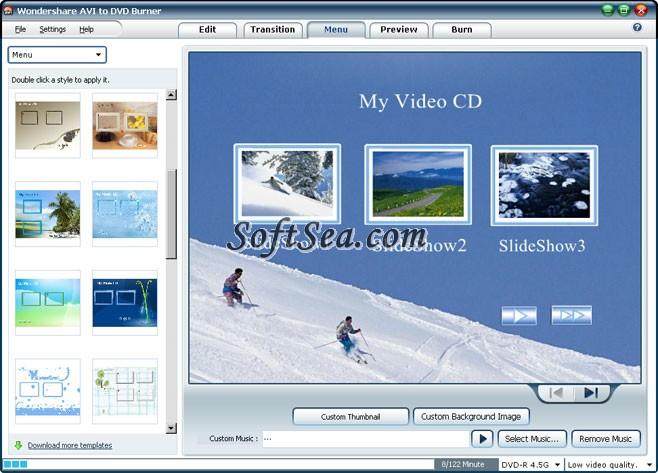 Wondershare AVI to DVD Burner Screenshot