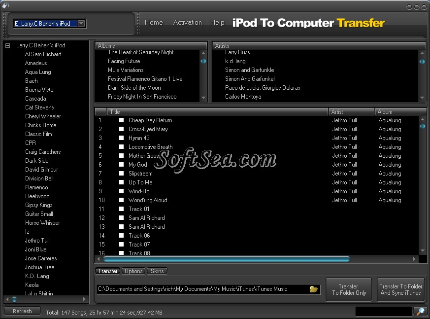iPodAid iPod To Computer Transfer Screenshot